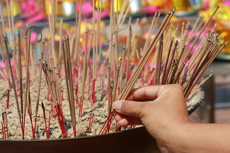 bamboo stick: Thai Banknotes on bamboo stick donated in temple Stock Photo