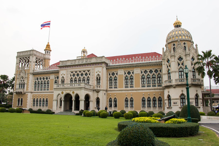 Thai Government Building, Thai Government House Santi Maitri Building, Thai Khu Fah Mansion in Bangkok, Thailand On Children's Day, January 9, 2016