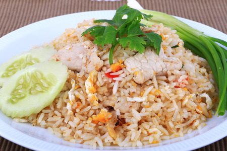 fried chicken: Thai Style Fried rice with pork in Bangkok, Thailand