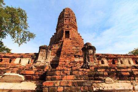 Stupas pagoda, pagoda sculpture of Buddha at Wat Worachet Temple ,The Ancient Siam Civilization of Ayutthaya Thailand