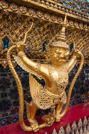 kaew: Thai Garuda Statues (Krut, State symbol of Thailand) in Wat Phra Kaew Ancient Temple of the Emerald Buddha in Bangkok, Thailand Stock Photo