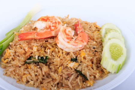 fried foods: Fried Rice with Shrimp and Vegetables on White Plate and White Background, Thai cuisine