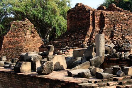 phra nakhon si ayutthaya: City building remain, Buddha statue remain of Wat Phra Sri Sanphet Temple in Ayutthaya, Thailand Phra Nakhon Si Ayutthaya
