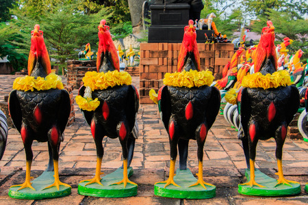 votive: Cock Fighting dolls as votive offerings to King Naresuan in Thammikarat Temple in Ayutthaya, Thailand
