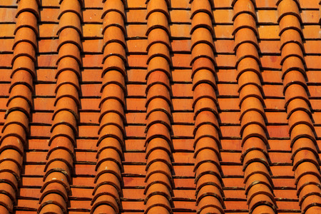 objec: Thai Temple Roof Tile Display in Thai Flag Pattern Stock Photo