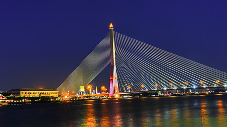 rama: Night at the Rama 8 Bridge, Bangkok, Thailand.