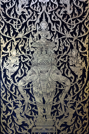 exquisite fairy: Thai style line art in Phra Pathom Chedi , Nakhon Pathom Thailand Stock Photo