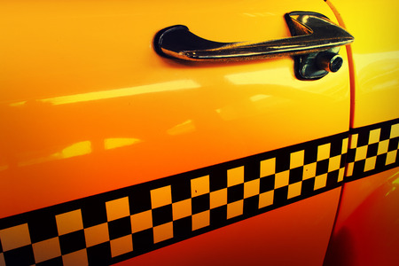 yellow cab: Yellow Cab Taxi, Door of Taxi with Checkered line Stock Photo