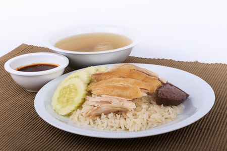 man isolated: Hainanese chicken rice, steamed chicken, chicken blood and white rice.