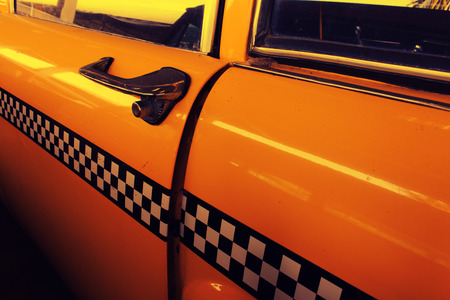 yellow cab: Yellow Cab Taxi, Door of Taxi with Checker Stock Photo