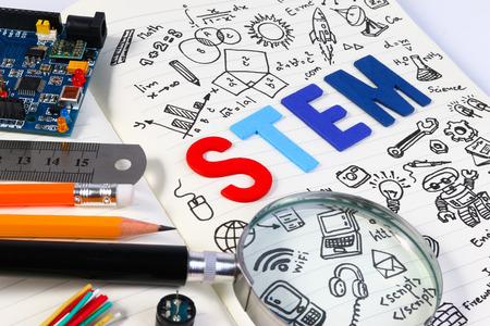 Educación STEM. Ciencia Tecnología Matemáticas Ingeniería. STEM concepto con el fondo de dibujo. Antecedentes educacionales.