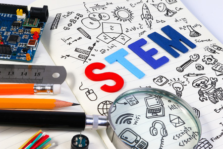 STEM education. Science Technology Engineering Mathematics. STEM concept with drawing background. Education background. 스톡 콘텐츠