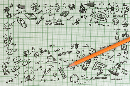edu: Education sketch design on notebook with copy space. Education concept thinking doodles icons set. School background of education icons set. Stock Photo