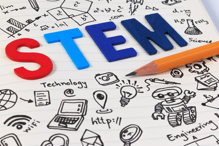STEM education. Science Technology Engineering Mathematics. STEM concept with drawing background. STEM icon set.