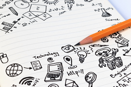 edu: Math formulas on notebook with copy space. Studying math back to school. Math symbols for background. Stock Photo