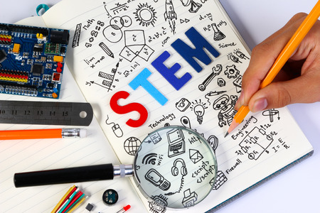 STEM education. Science Technology Engineering Mathematics. STEM concept with drawing background. Education background. Banco de Imagens