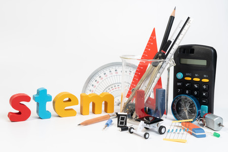 Equipment of STEM education, Science, Technology, Engineering, Mathematics. STEM education concept isolated on white background.