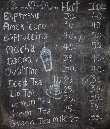 menu in front of coffee, chalk on black board: coffee, espresso, cappuccino photo