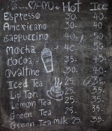 menu in front of coffee, chalk on black board: coffee, espresso, cappuccino photo