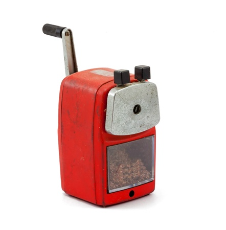 pencil sharpener: Mechanical sharpener of pencil on the white background Stock Photo
