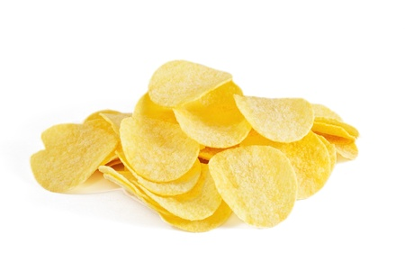 saturated: Potato chips on a white background