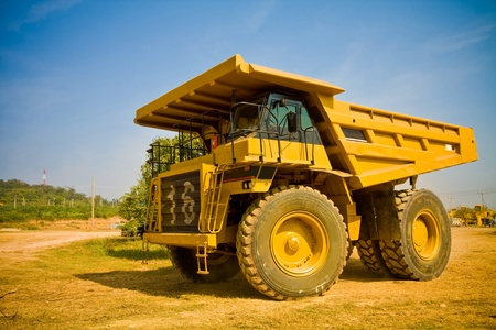 open pit: yellow truck Stock Photo