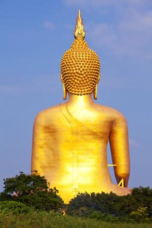 Big Buddha behind statue in thailand. photo