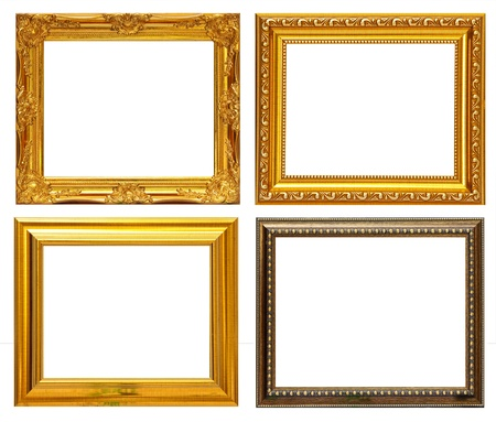 antique gold frame: Gold frame Collection on white background