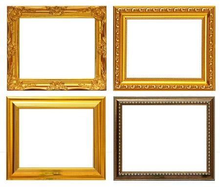 ornate gold frame: Marco oro colecci�n sobre fondo blanco Foto de archivo