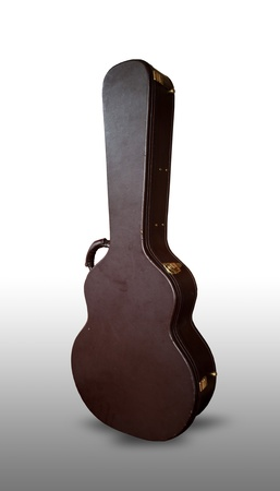 Brown guitar case isolated on the white photo