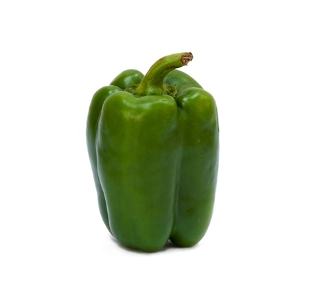 sweet pepper green color on white background Stock Photo - 9424738