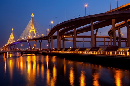 Bhumibol Bridge in Thailand,The bridge crosses the Chao Phraya River twice. Stock Photo
