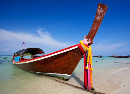longtail: Boat on the sea in Southern of Thailand Stock Photo