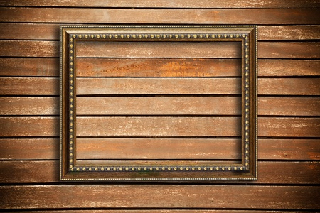baroque room: Photo frame on wood wall background
