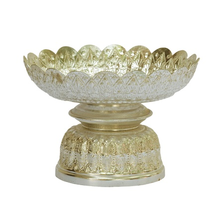 Old antique vintage bronze, brass bowl, isolated on white background photo