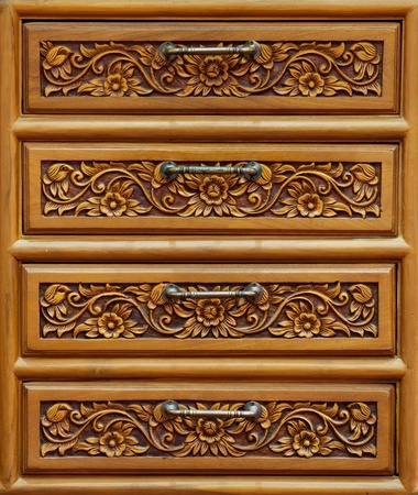 Detail of drawer carving Archivio Fotografico