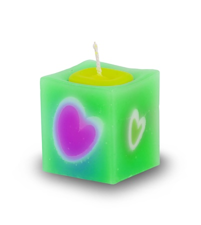 heart candle isolated on white background photo