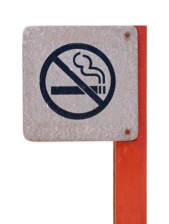 no smoking metal sign on the white background photo