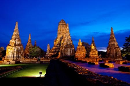 Wat Chaiwattanaram, el templo histórico de Ayutthaya, Tailandia Foto de archivo