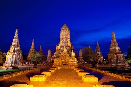 stupas: Wat Chaiwattanaram, the historical temple in Ayutthaya, Thailand Stock Photo