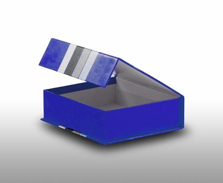 open blue box on white background photo