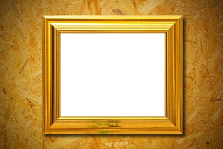 photo frame on wood wall background photo