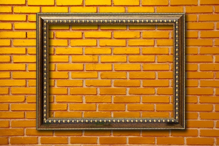 wood frame on brickwall photo