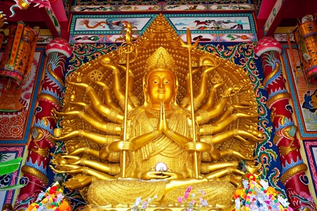 mercy: Golden Statue of Guan Yin with 1000 hands