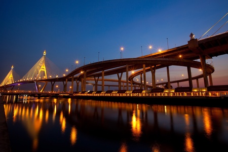 Bhumibol Bridge in Thailand,The bridge crosses the Chao Phraya River twice. Stock Photo