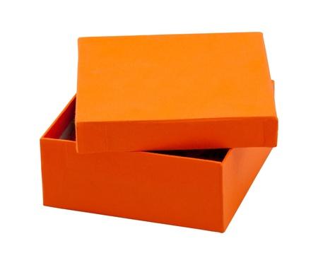 open orange box on white background photo