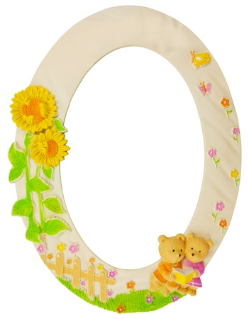 flower oval frame isolated photo