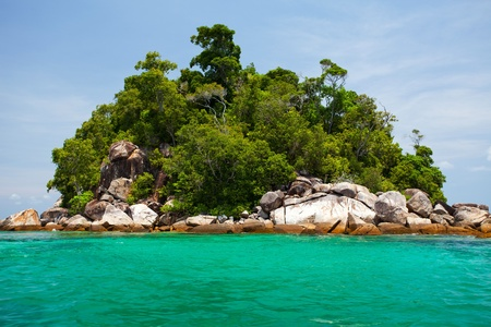 islands in the sky: Beautiful tropical island with blue sky Stock Photo