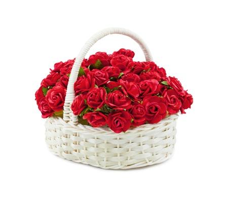 Basket roses isolated over white Stock Photo - 9531687