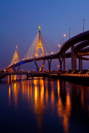 Bhumibol Bridge in Thailand,The bridge crosses the Chao Phraya River twice. photo